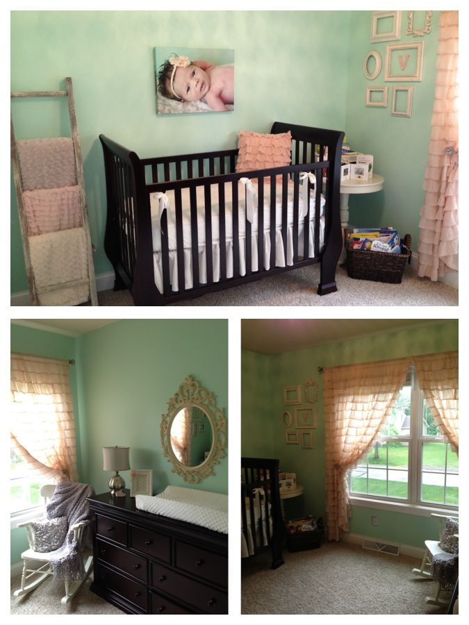Green Baby Boy Room Ideas: Mint & Pink Nursery With Deep Wooden Crib