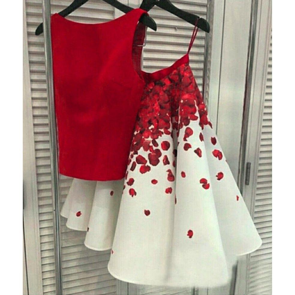 Poly silk red u white printed lehenga c silk printing and