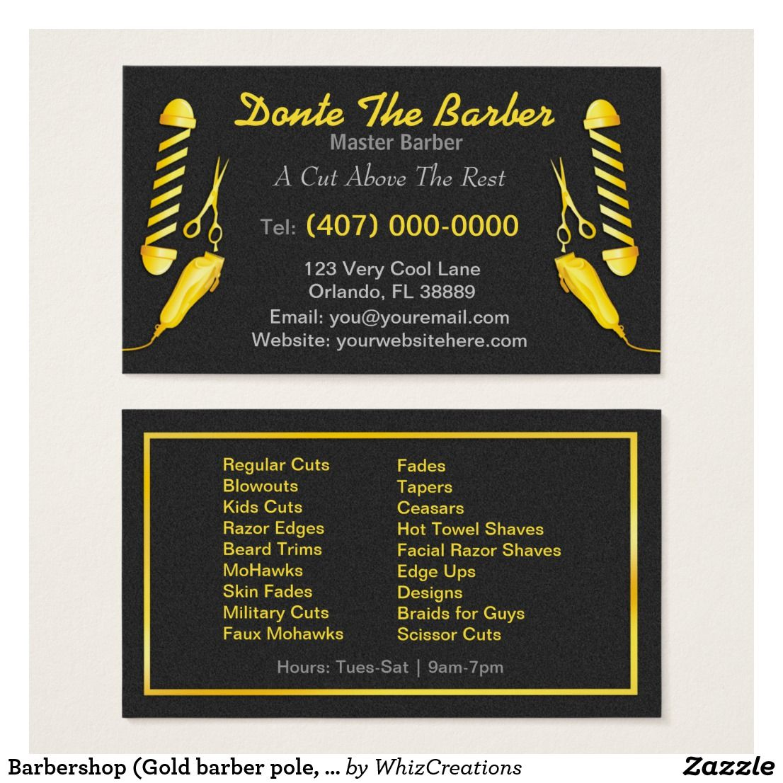 Barbershop (Gold barber pole, clippers and shears) Business Card ...