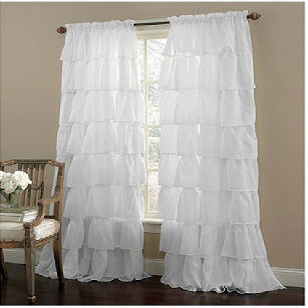 Ruffle Rod Pocket White Curtain #sheer #sheercurtain #custommade #curtains  #homedecor - Ruffle Rod Pocket White Curtain #sheer #sheercurtain #custommade