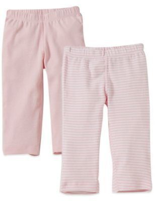 9513a524c Burt's Bees Baby® Size 0-3M 2-Pack Organic Cotton Footless Pant in Pink  Solid/Stripe