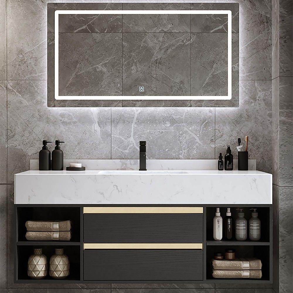 17+ Black floating bathroom vanity model