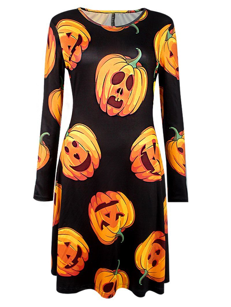 Pumpkin Lantern Print Long Sleeve Large Size Halloween Party Dress Shift Dress