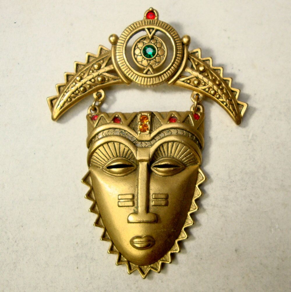 Magnificent Tribal Mask Brooch Pin Vintage 1940/'S French Galalith Hand Carved  Dark Umber Color Bakelite Jewelry