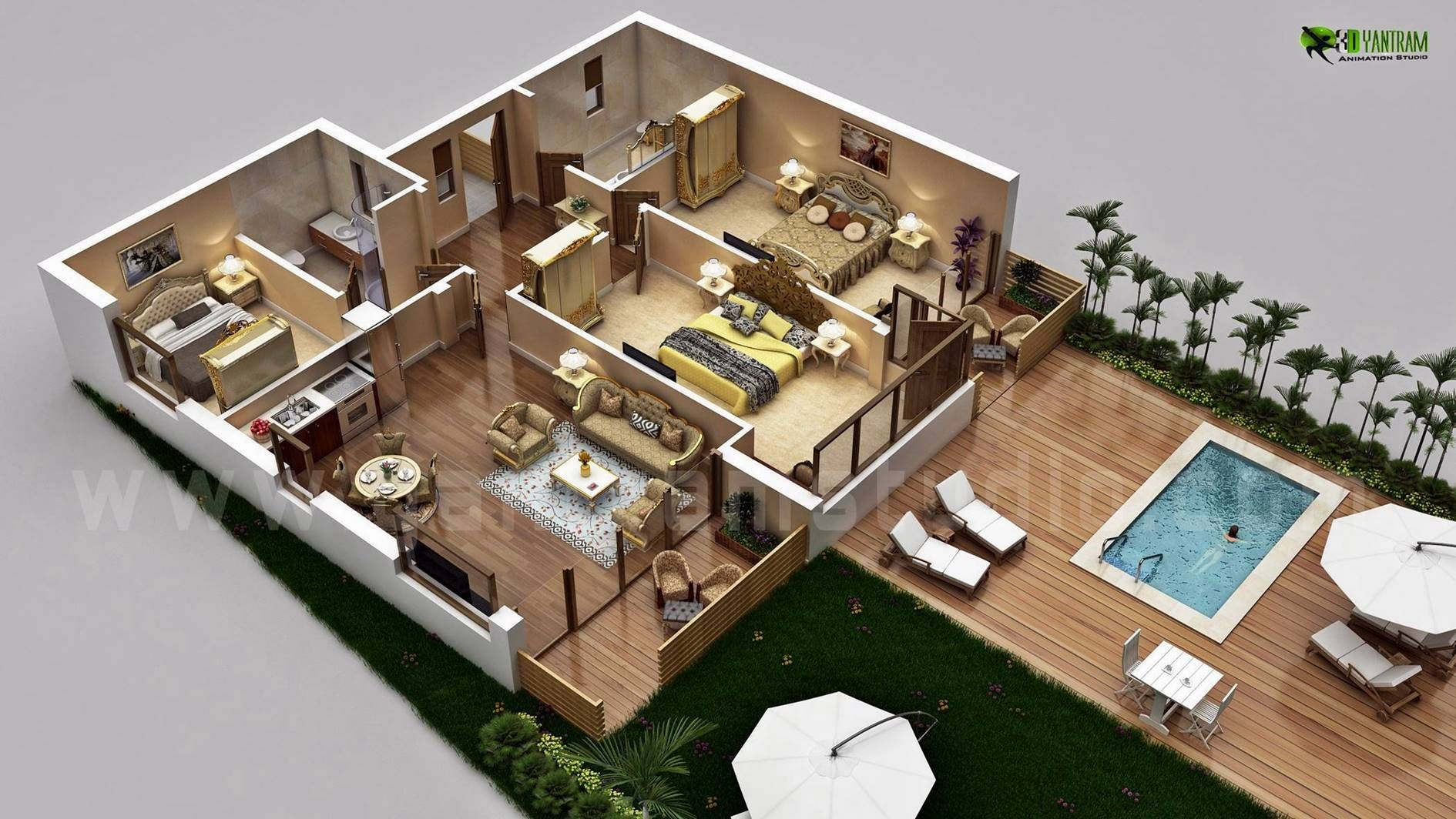 3d Luxurious Residential Floor Plan Concept From 3d Yantram Architectural Design Studio House Designs Exterior Luxury House Plans Floor Plan Design