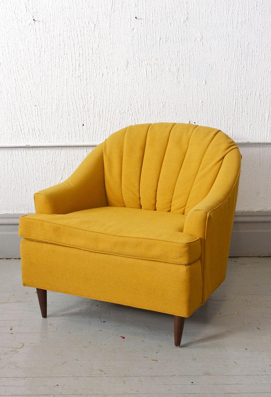beautiful mid century modern vintage yellow club chair yellow