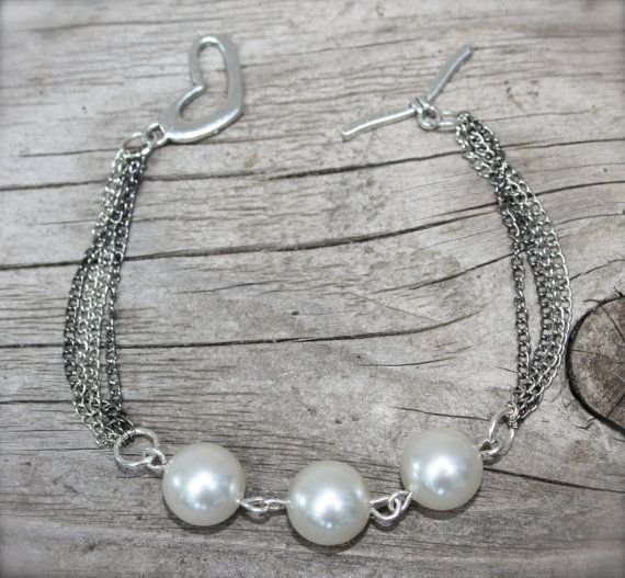 Handmade Vintage PEARL BRACELET, and Siver/Gunmetal Color Mix Chains, by Okrrah on Etsy, $40.00