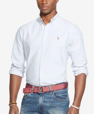 62b77741547a6d Polo Ralph Lauren Men's Long-Sleeve Multi-Striped Oxford Shirt - Blue White  Stripe 3XL