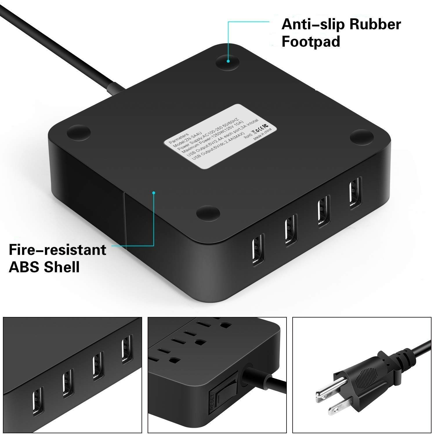 Power Strip With Usb Surge Protector Smart 3 Outlet And 4