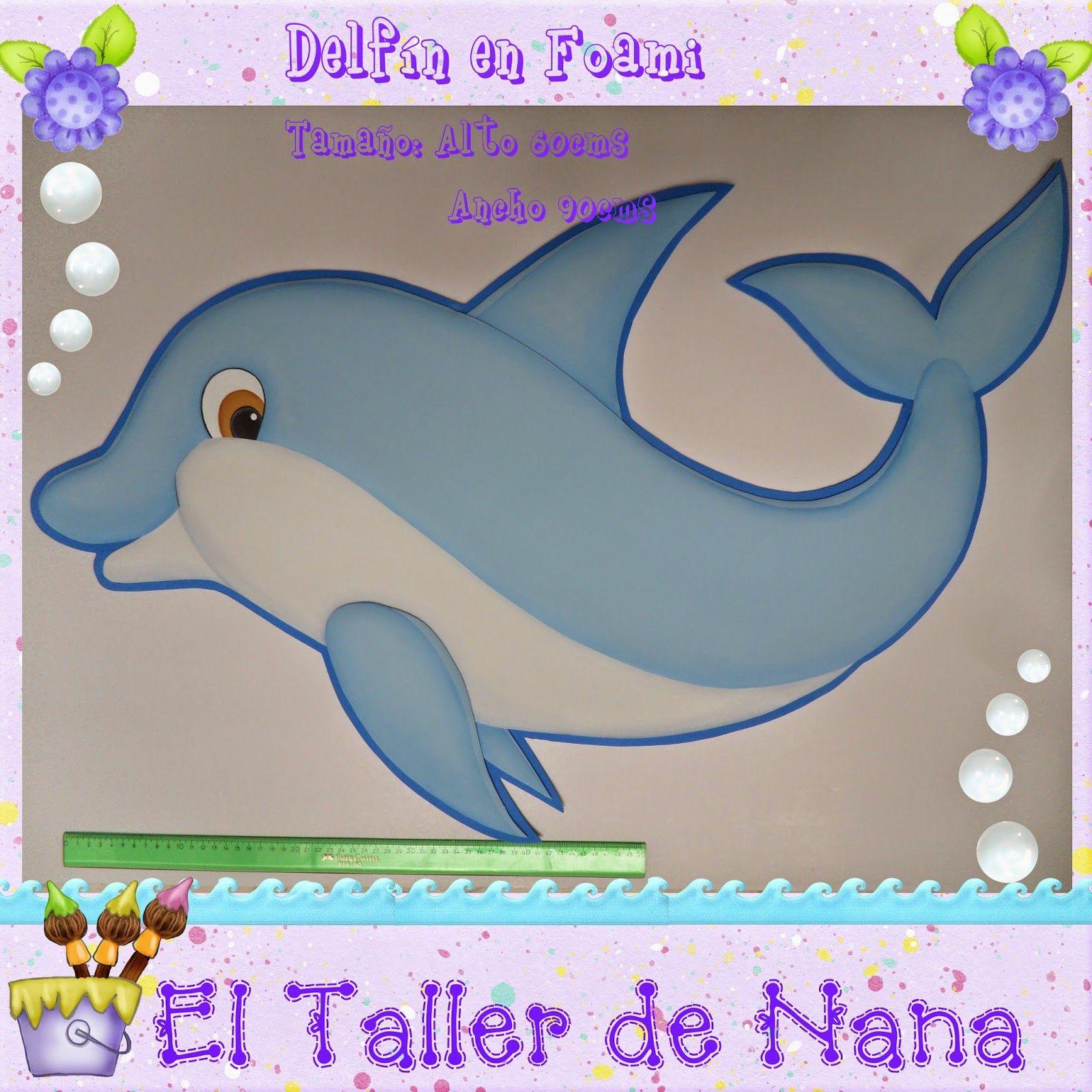 Aplique Delfín de 60cms de Alto X 90cms de Ancho, elaborado en foami ...