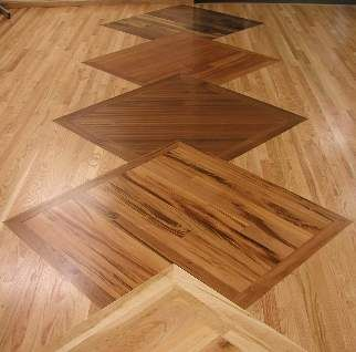 Hardwood Floor Featuring A Pattern Of Overlapping Squares Hardwood Floors Wood Floor Design Bamboo Flooring Prices