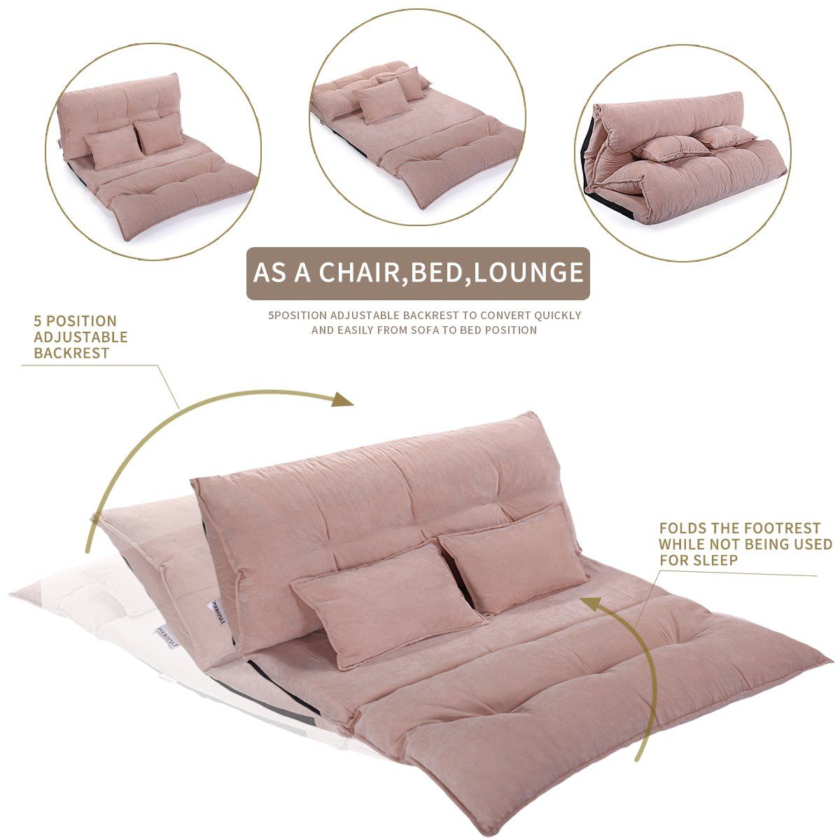 Jaxpety Folding Floor Sofa Bed Lounge Chaise Video Gaming