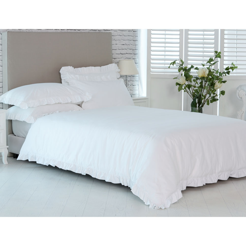 Benedetta 200 Luxury Ruffle White Bed Linen Set White Ruffle