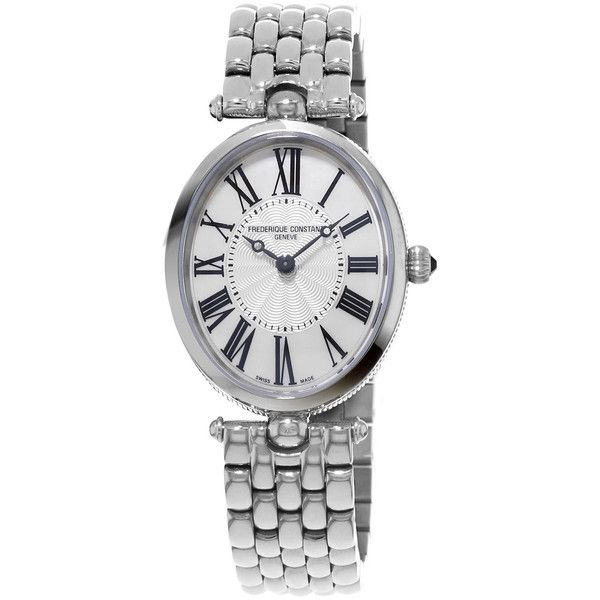 Frederique Constant Ladies' Classics Art Deco Stainless Watch ($1,415) ❤ liked on Polyvore featuring jewelry, watches, deco jewelry, stainless steel wrist watch, art deco-inspired jewelry, roman numeral jewelry and frederique constant watches