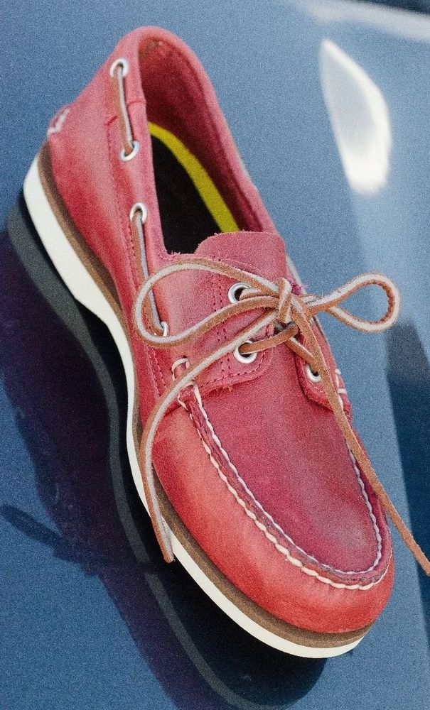 dcd4f56d6815 Timberland Cherry Red Nubuck Leather 2 Eye Classic Casual Boat Shoes Men s  8  Timberland  BoatShoes