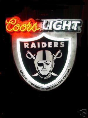 Coors Light Oakland Raiders Neon Beer Sign Neon Night