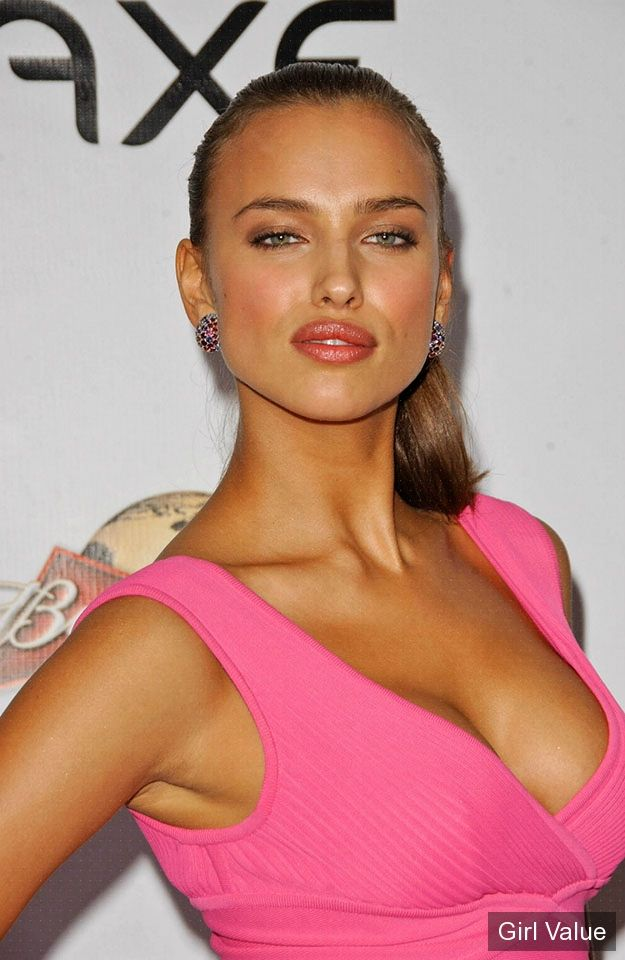 beautiful irina shayk in pink dress photos
