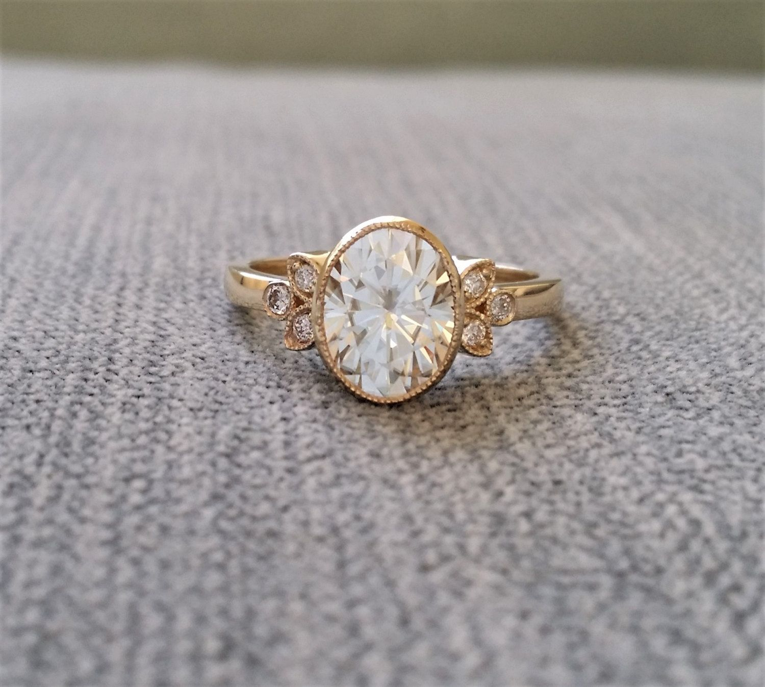Antique Diamond E F Moissanite Engagement Ring Yellow Gold