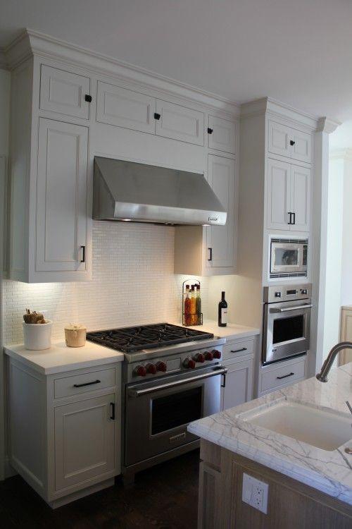 White cabinets, backsplash and counter tops | KITCHEN | Pinterest