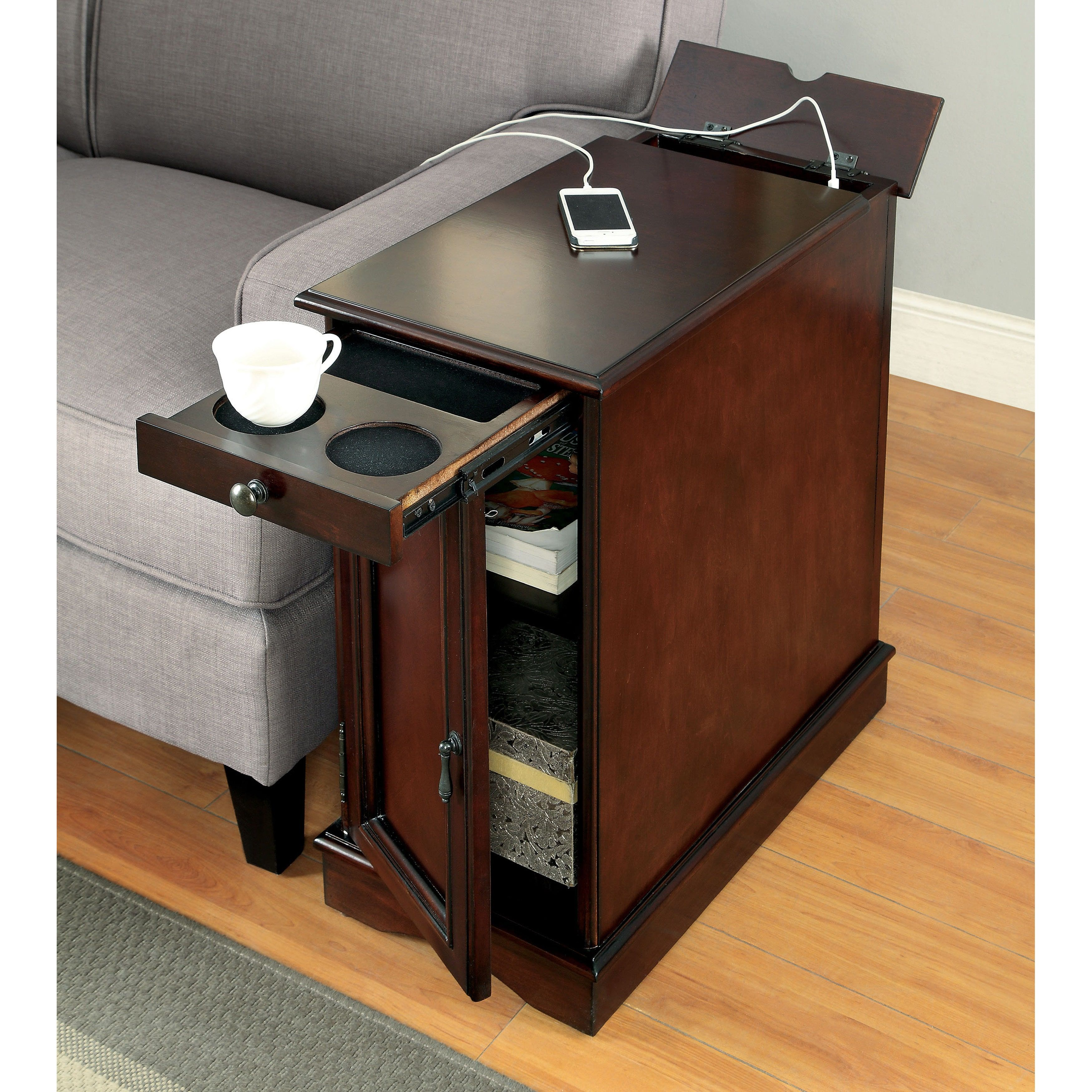 Furniture Of America Terra Multi Storage Side Table With Power Strip   Free  Shipping Today   Overstock.com   18555940