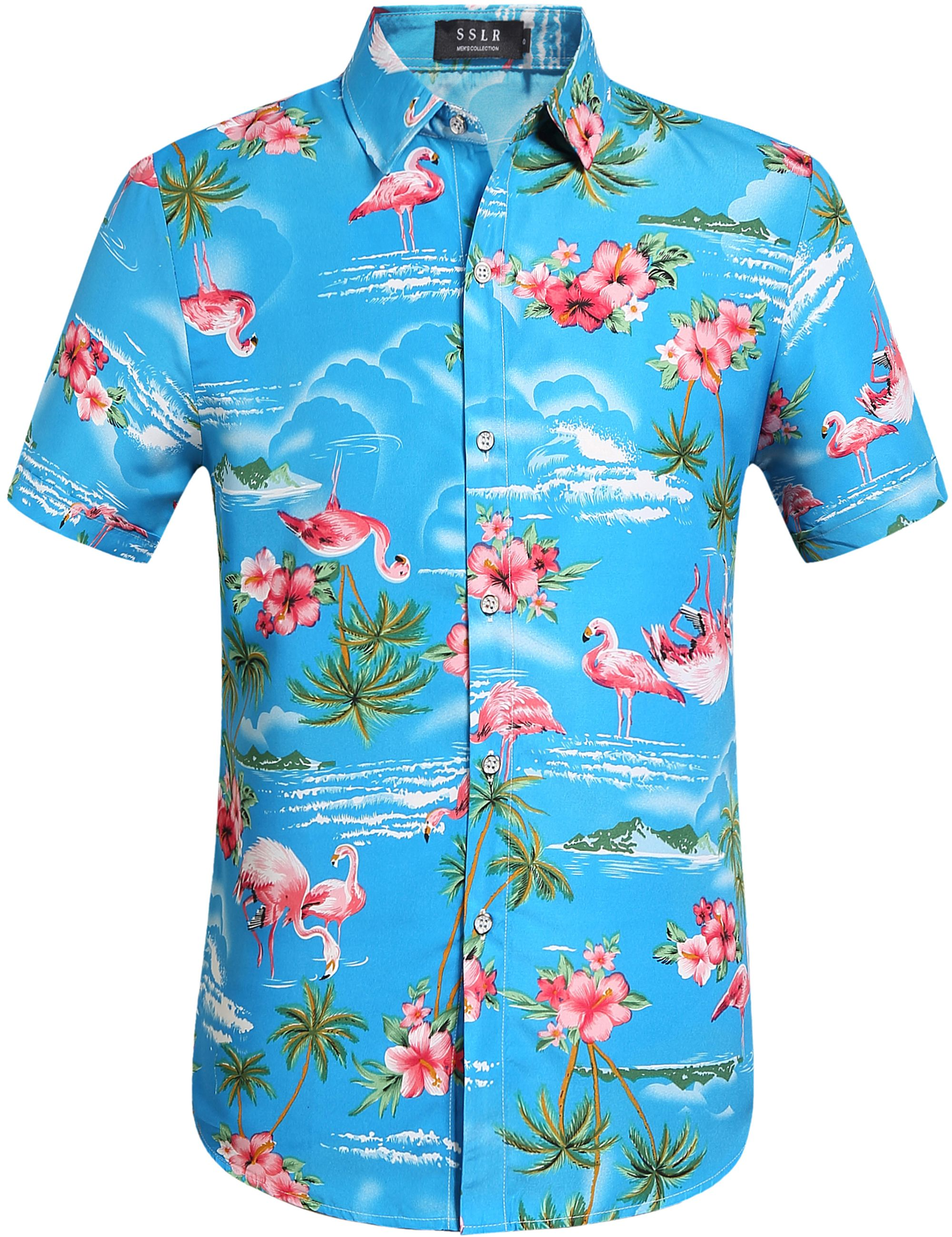 SSLR Men/'s Flowers Flamingos Casual Aloha Tropical Hawaiian Shirt