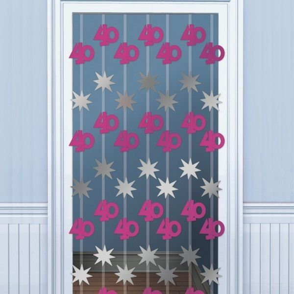 Age 40 40th Birthday Pink Silver Foil Door Curtain Danglers