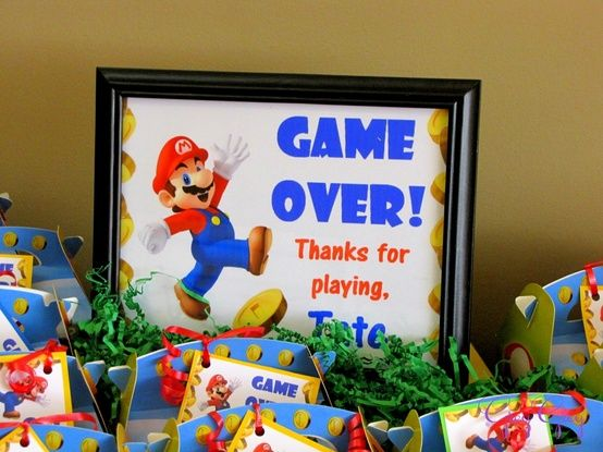 Cute sign for the table you place the favor bags on Super Mario