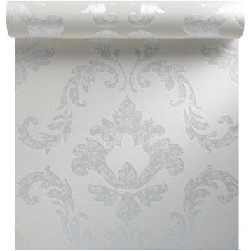 papier peint expans sur intiss mdaillon brod blanc larg 053 m leroy - Papier Peint Chambre Fille Leroy Merlin