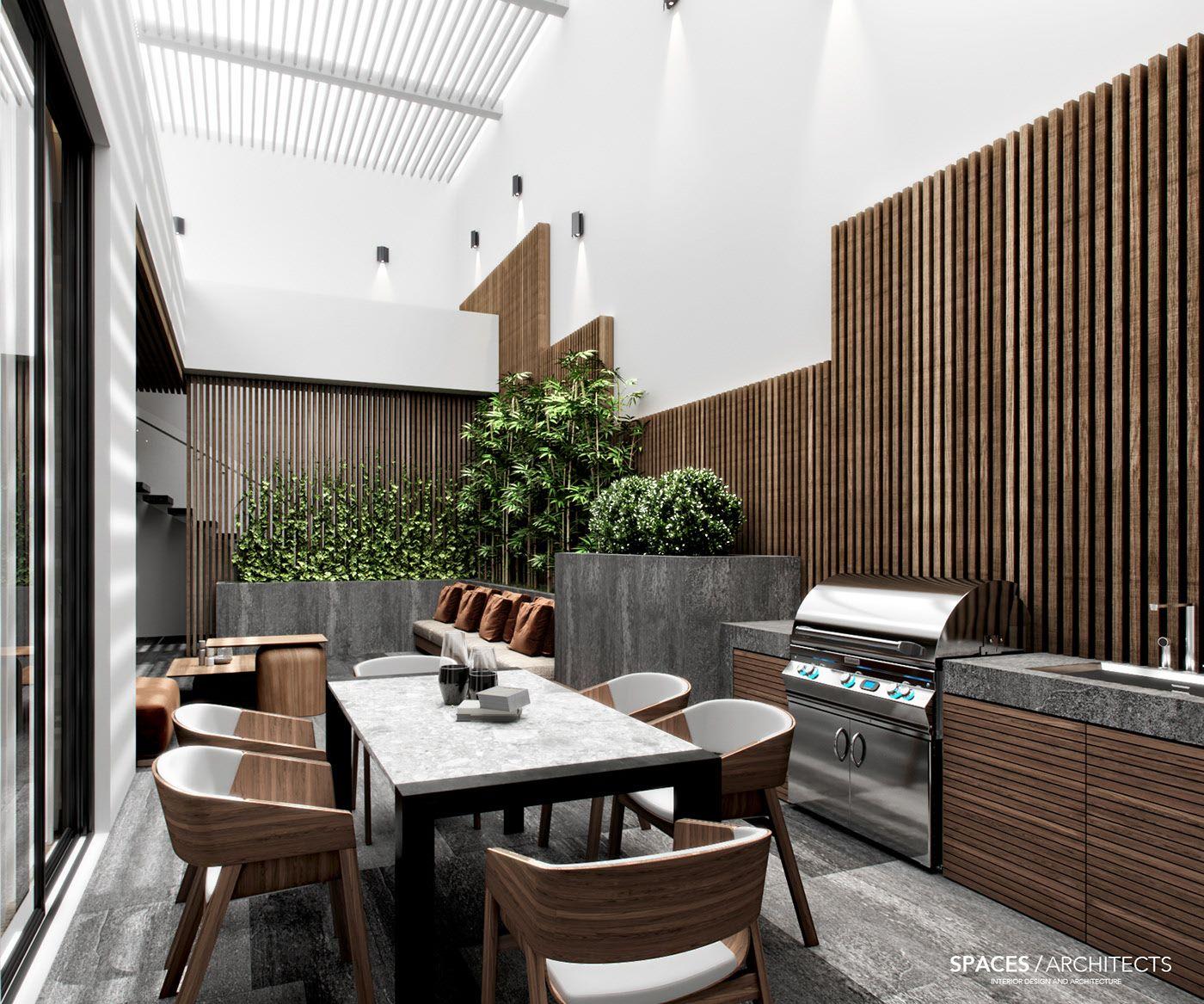 Contemporary Basement Design: MODERN BASEMENT With A Beautiful Patio On Behance