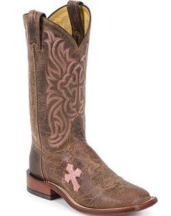 Tony Lama Cowgirl Boots W Pink Cross And Square Toe Boot