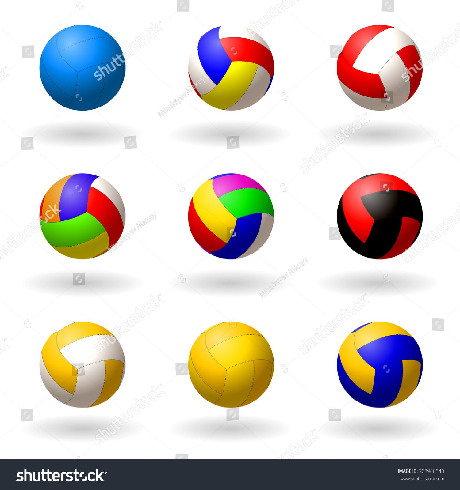 Ball For Volleyball Set Of Multi Colored Balls For Volleyball Pioneerball Handball Sport And Recreation Objects On Whi Volleyball Set Ball Abstract Design