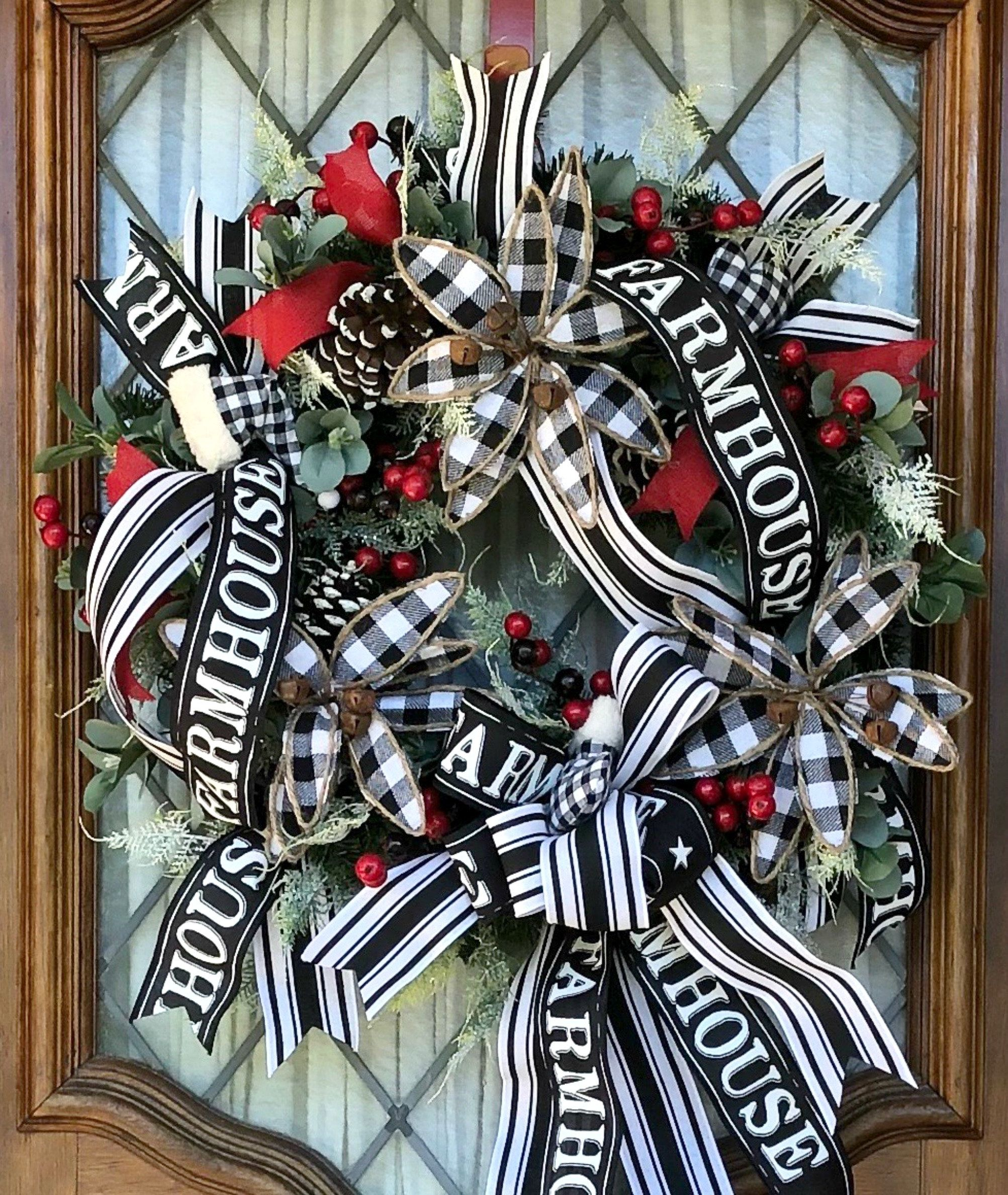 Black and white Christmas wreath for front door, Farmhouse