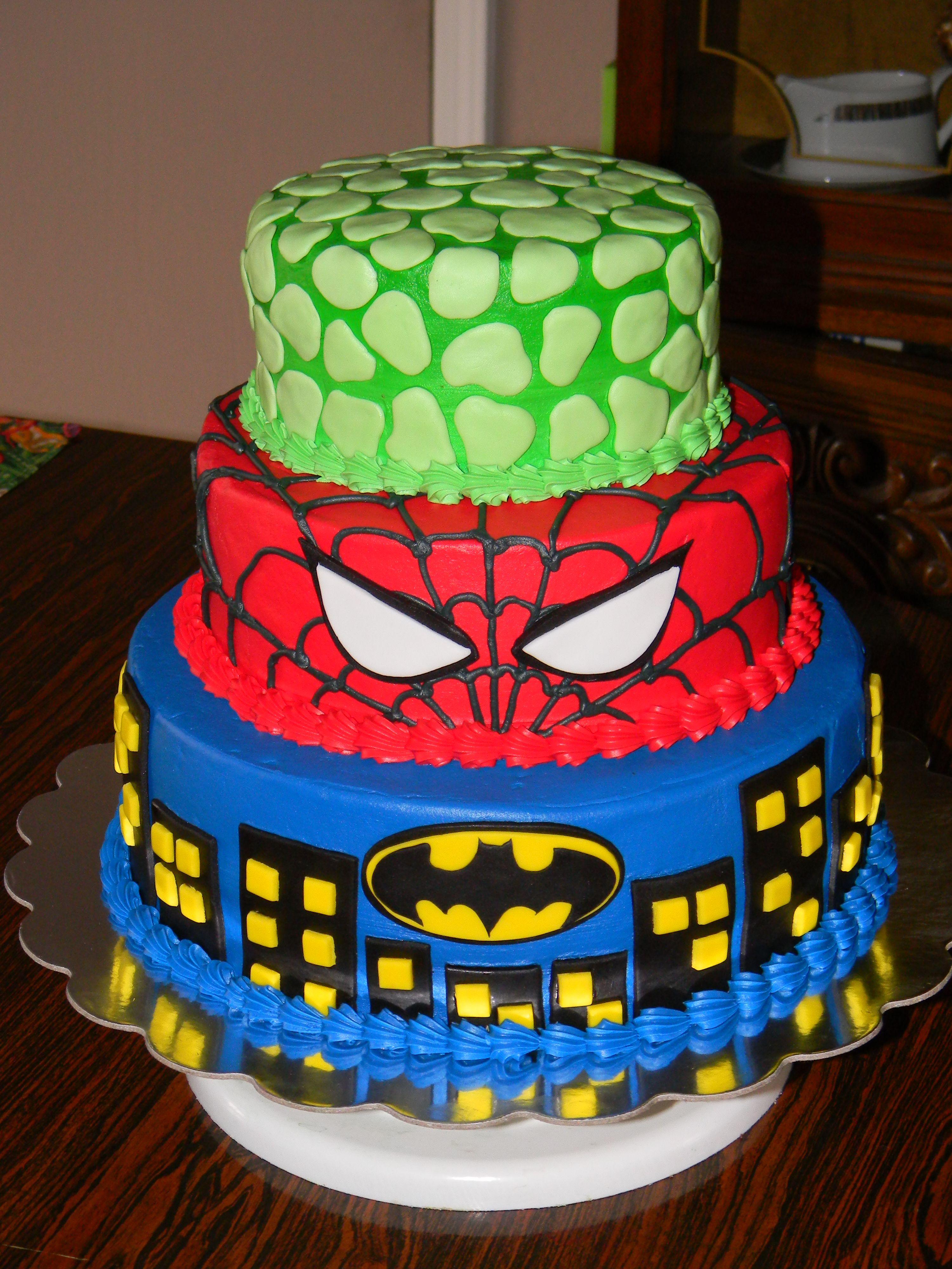 Averys Birthday cake idea Batman Spiderman and Hulk cake