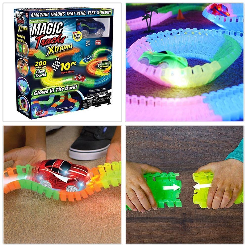 Ontel Magic Tracks W Race Car 10ft Racetrack Flexible Glow In Dark Playset Toys Glow In The Dark Glow Race Track