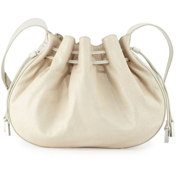 202c6ba29192 Halston Heritage Bianca Large Lizard-Embossed Leather Bucket Bag ( 305) ❤  liked on Polyvore featuring bags