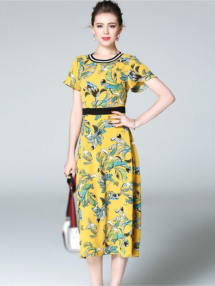9a50e67d4e Ethnic O-Neck Short Sleeve Floral Print Skater Dress