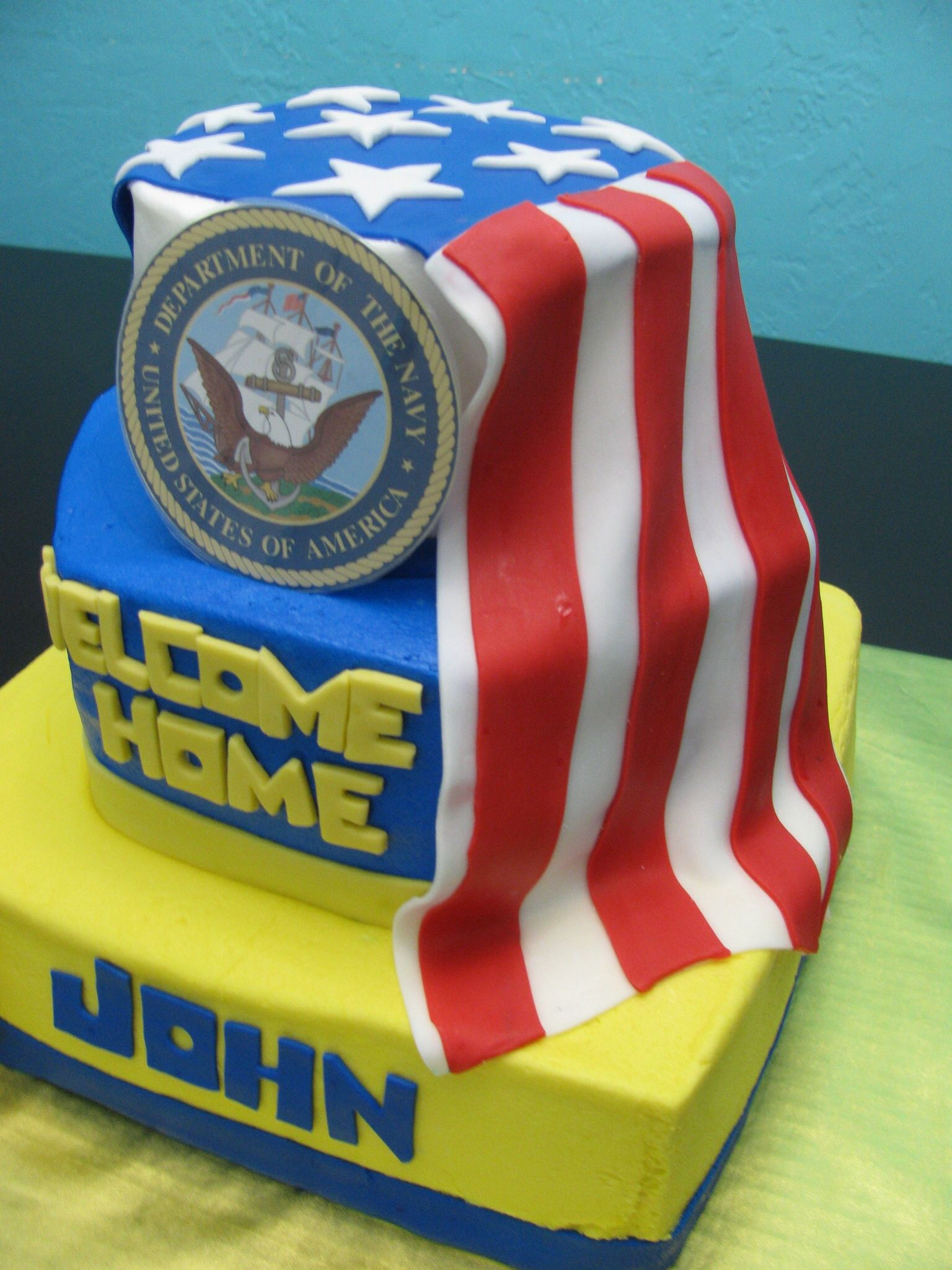Navy welcome home cake my cakes pinterest navy cake for Welcome home cake decorations