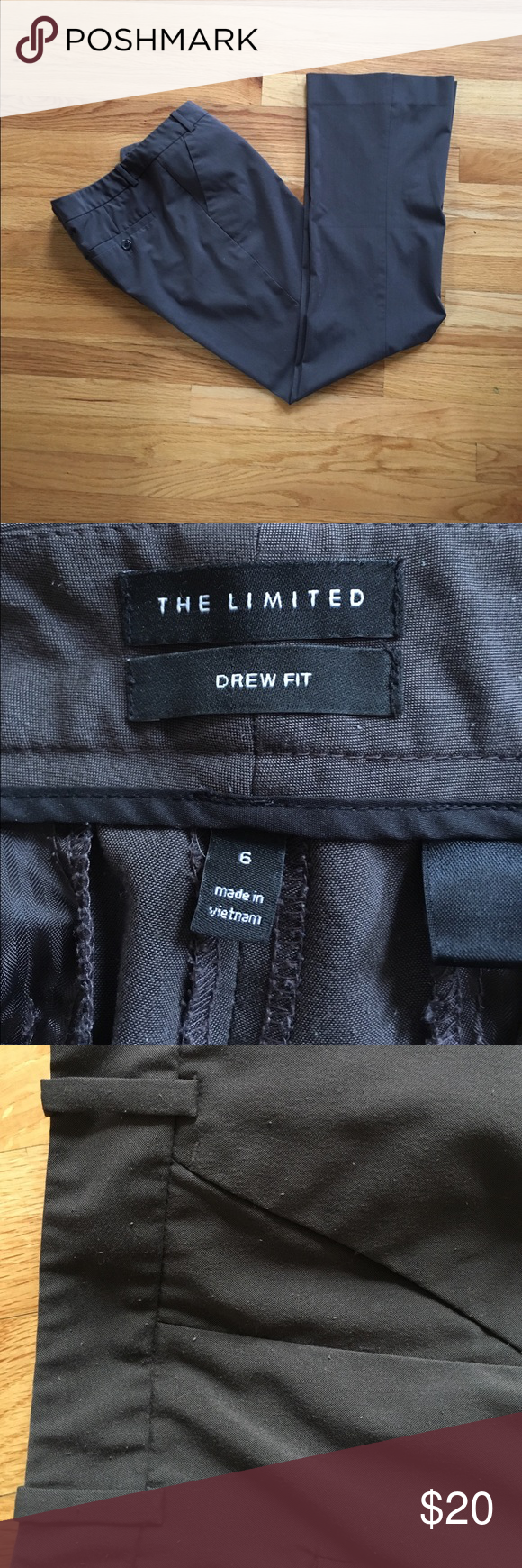The Limited suit pants, brown/gray, good condition These pants are straight leg, Drew fit from the Limited. Matching blazer also listed, will bundle price if interested. Some light pilling from wear as shown in photo. No other flaws or damage. Classic fit and with the blazer makes a beautiful suit. Color is versatile brown/gray and can be worn with black or brown shoes/belt. I got every job I ever applied for while wearing this suit. 🤓 The Limited Pants Trousers