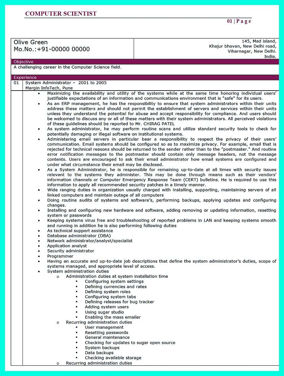 nice The Best Computer Science Resume Sample Collection