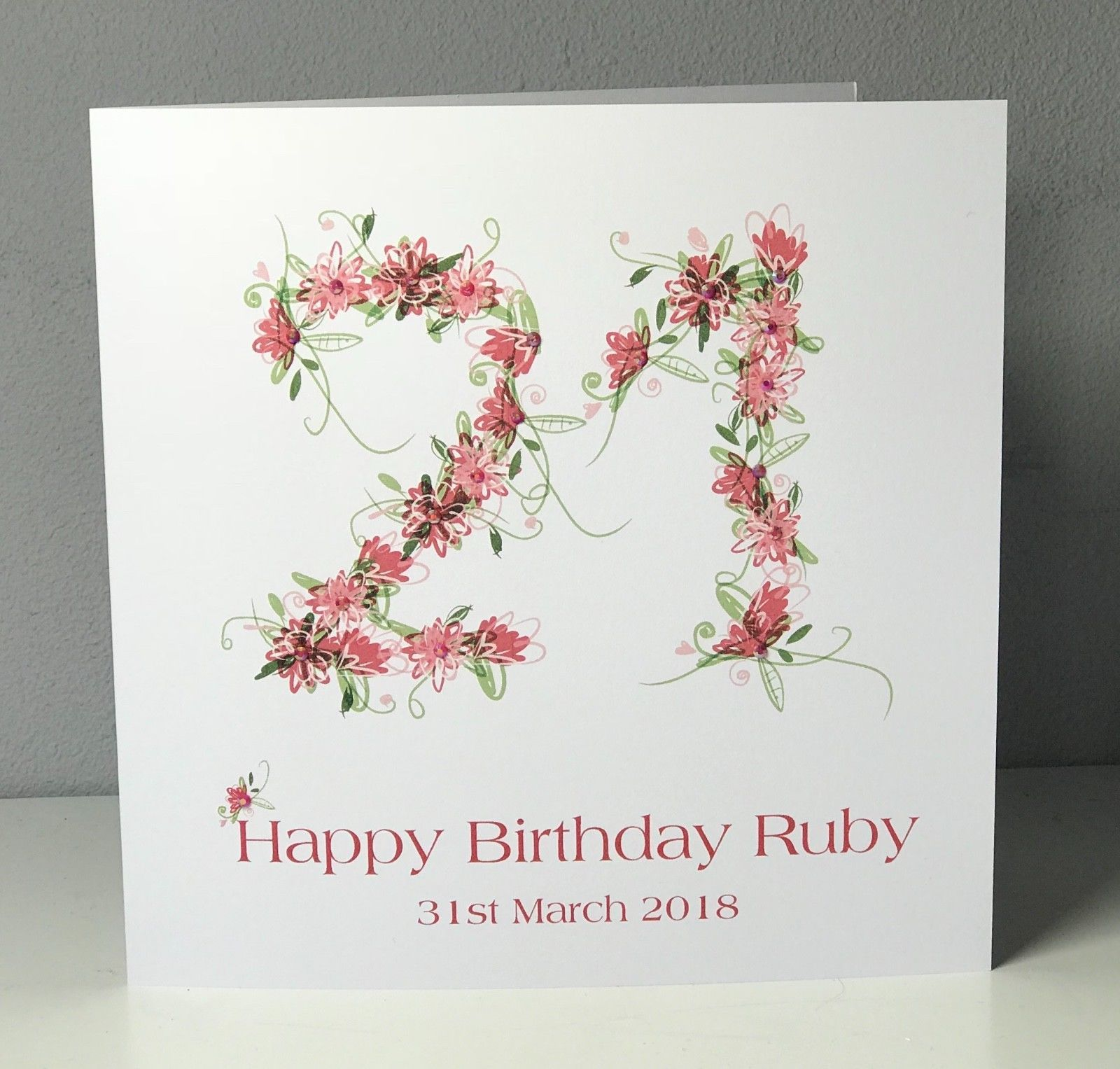 4 99 Gbp Personalised 21st 8 X 8 Birthday Card Flowers 18th 30th 16th Ebay Home Garden Birthday Cards 8th Birthday Cards