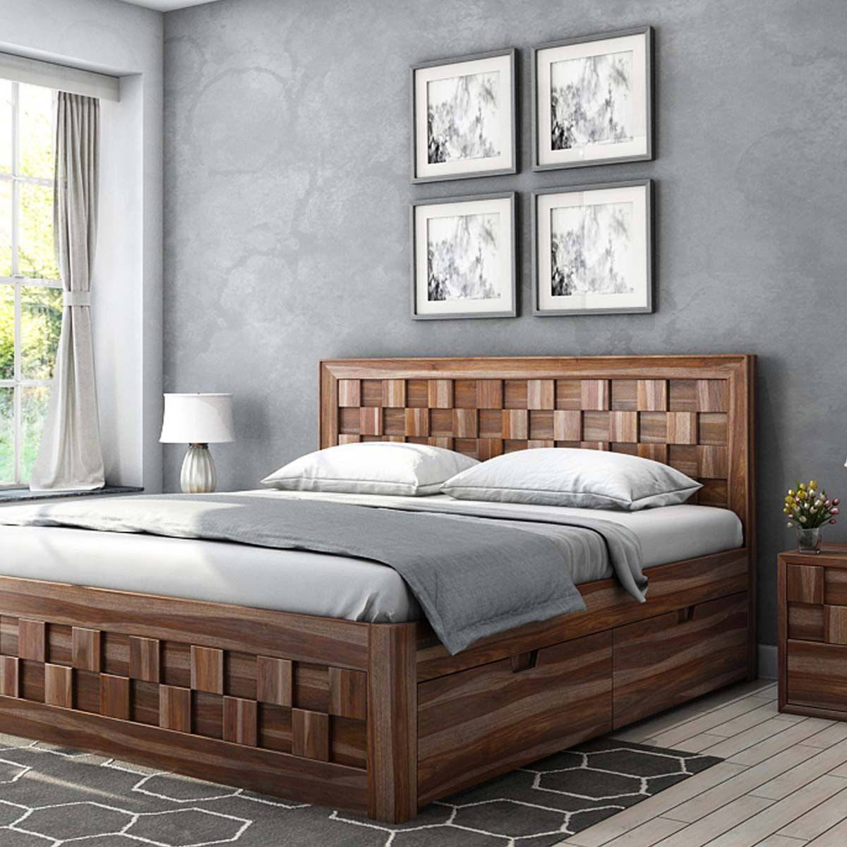 Best Checkered Solid Wood Captains Storage Platform Bed Wood 640 x 480