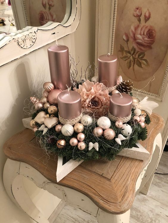50 Rose Gold Christmas Decor Ideas So That Your Home Tells A Sweet Roma Christmas Candle Decorations Pink Christmas Decorations Rose Gold Christmas Decorations