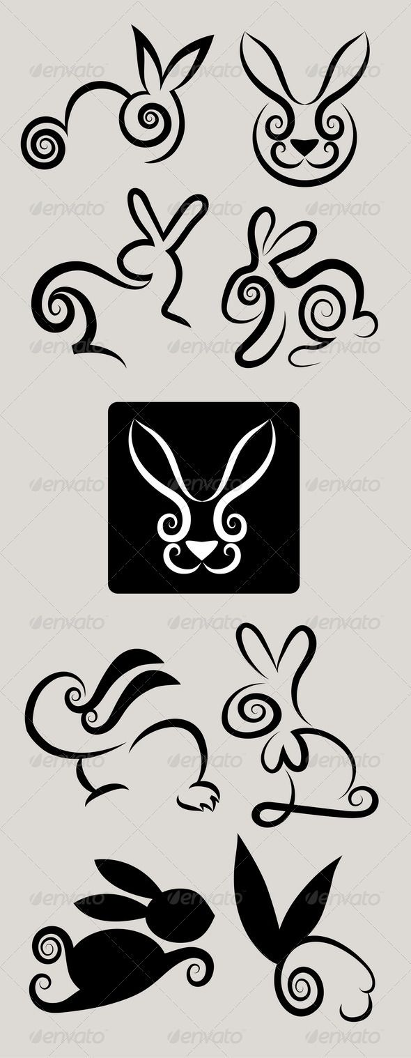 Rabbit Symbols Vector Set Animals Characters Vinyl Pinterest