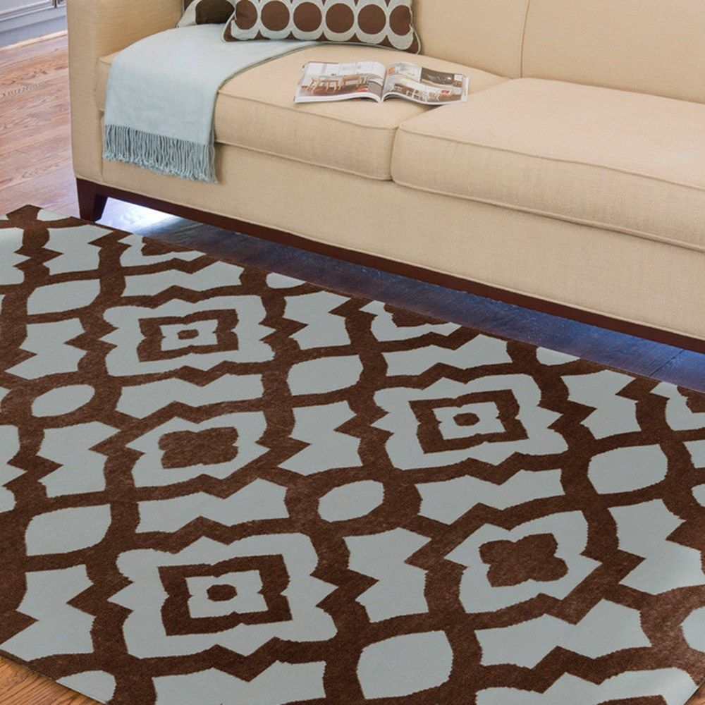 Candice Olson Blue Living Rooms: Candice Olsen Geometric Brown And Blue Woven Wool Rug