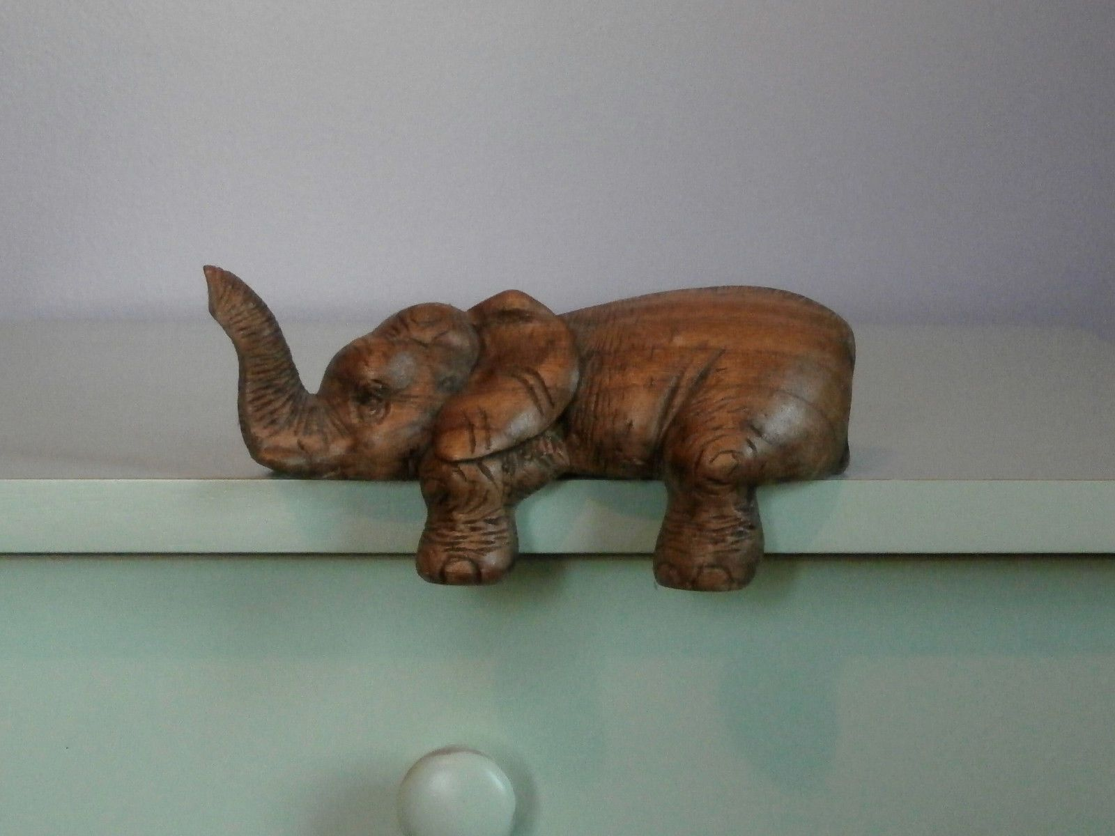 Elephant Shelf Sitter Hand Carved Wood picclick.com