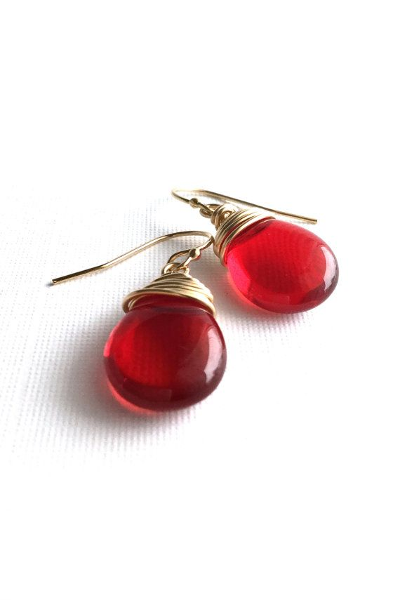 Red Gold Earrings, Ruby Red Teardrops, 14 K Gold Filled Wire Wrapped ...