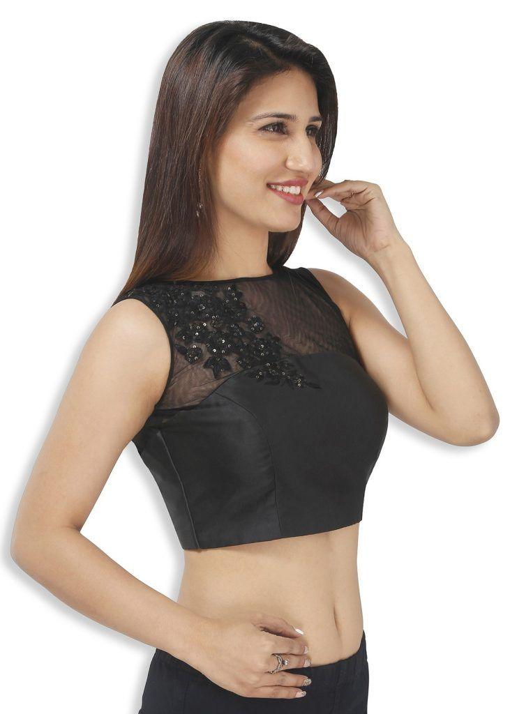 Gold Designer Readymade Party Wedding SariSaree Stitched Blouse sleeveless Crop Sari Top For Indian Pakistani Women girl bride bridesmaid