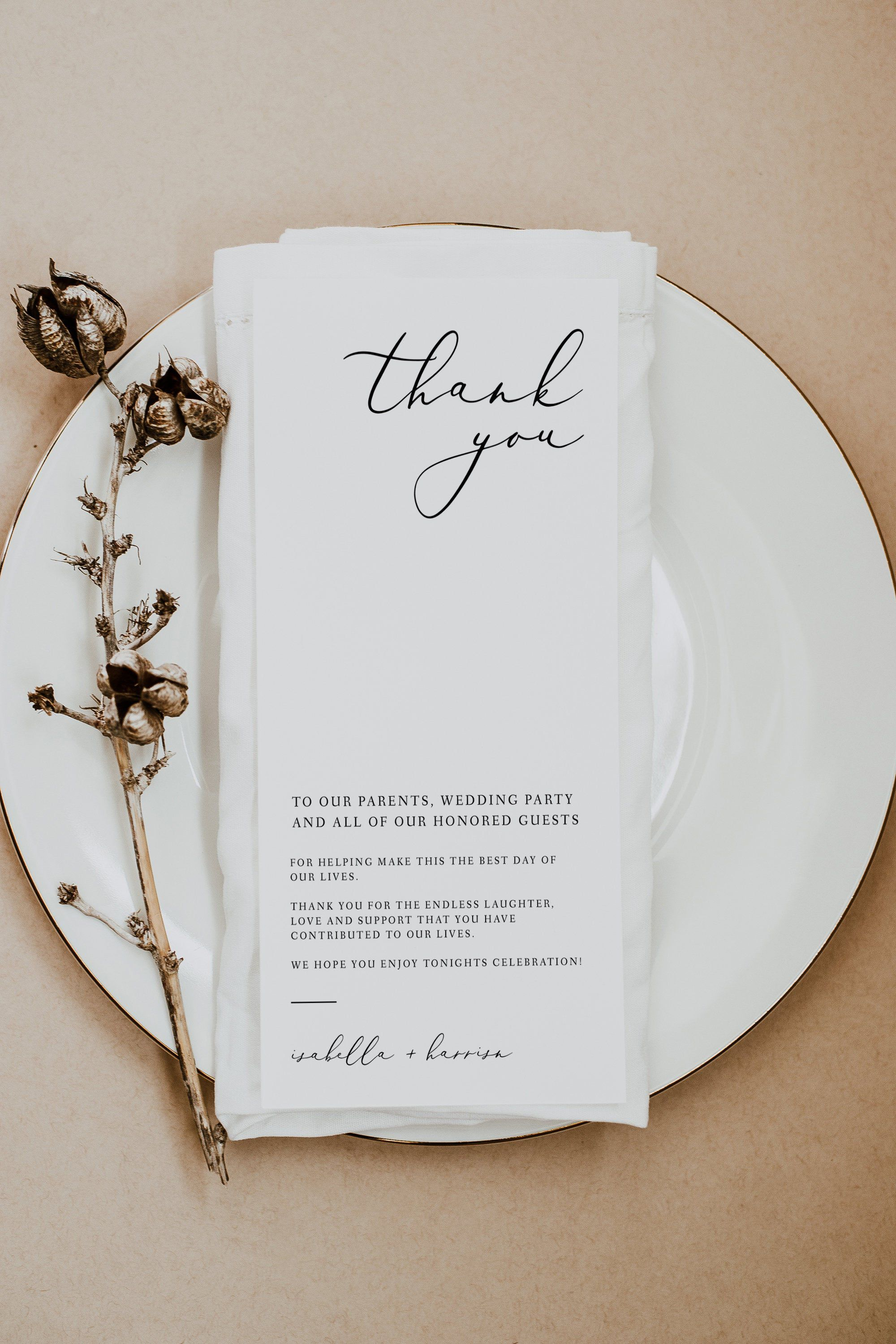 Evelyn Table Thank You Card Printable Place Setting Thank Etsy Wedding Thank You Cards Wedding Thank You Minimal Wedding
