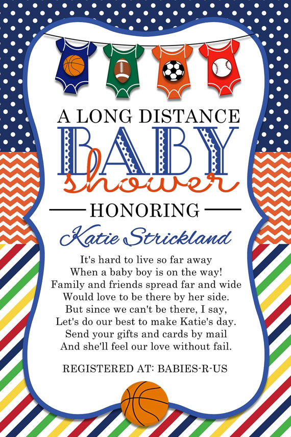 Sports Long Distance Baby Shower Invitation