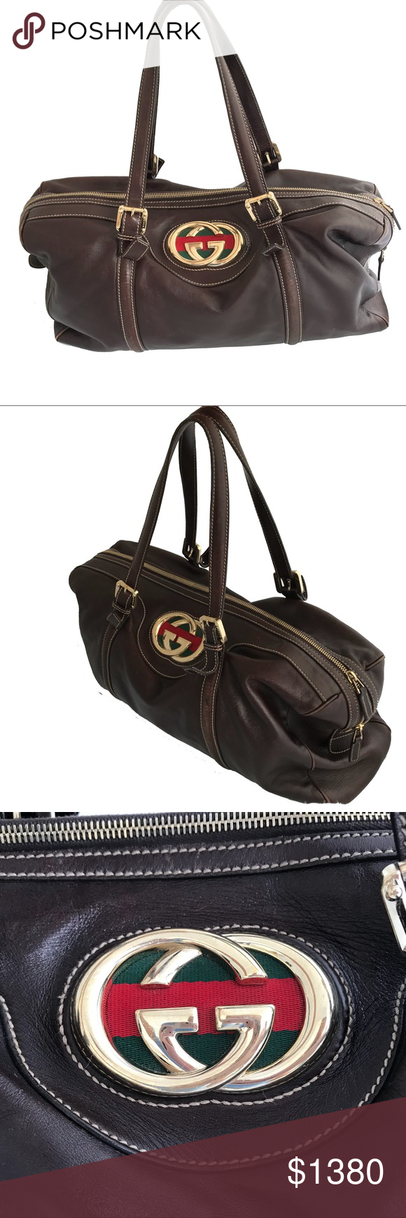 994acb3ee614 Classic Gucci Leather Handbag VINTAGE GUCCI iconic espresso leather tote in  excellent condition with gold logo and adjustable handles.